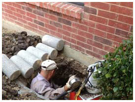 Pressed concrete foundation piers, Fort Worth, steel foundation piers, Installations