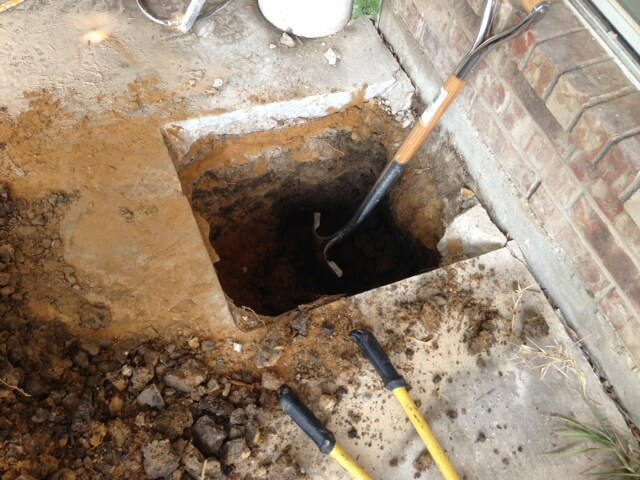 Professionals installed 18 piers under the concrete slab in order to halt foundation repair problems.
